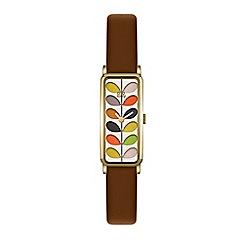 Orla Kiely - Ladies Brown 'Stem' Analogue Leather Strap Watch OK2104