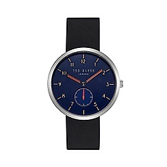 Ted Baker - Men's black leather strap blue dial watch