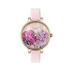Ted Baker - Ladies pink leather strap with flower dial