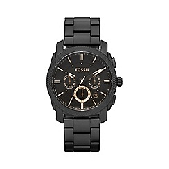 Fossil - Black chronograph stainless steel watch fs4682