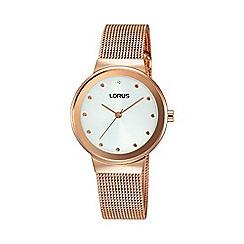 Lorus - Ladies rose gold sunray white dial mesh bracelet rg266jx9