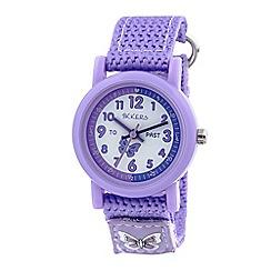 Tikkers - Time teacher purple butterfly velcro watch tk0111