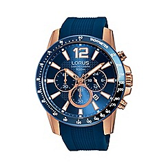 Lorus - Gents rose gold case chronograph on blue silicone strap rt392ex9