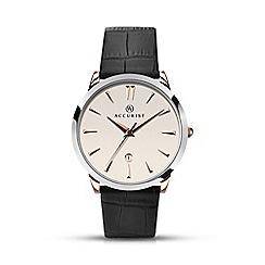 Accurist - Men's black leather strap white dial watch 7028.01