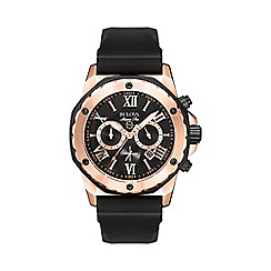 Bulova - Men's rose gold IP with black rubber strap watch 98b104