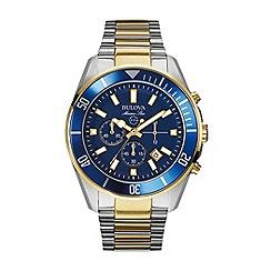 Bulova - Men's stainless steel case with yellow gold IP bicolour bracelet watch 98b230