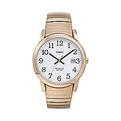 Timex - Men's easy reader white dial with gold expansion band watch t2h301