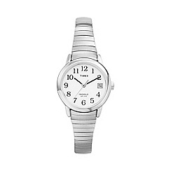 Timex - Ladies easy reader white dial with expansion band watch t2h371