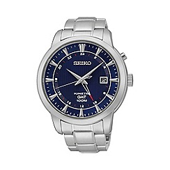 Seiko - Mens 'Kinetic GMT' silver bracelet watch sun031p1