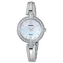 Seiko - Womens solar crystal silver bracelet watch sup287p9
