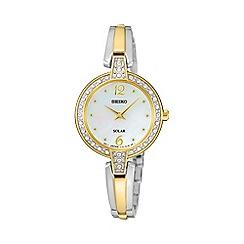Seiko - Womens solar crystal two tone bracelet watch sup288p9