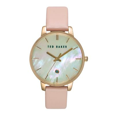 f50fe6d6b Ted Baker Ladies Mother Of Pearl Pink Leather Watch Te10026423 ...