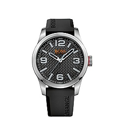 Boss Orange - Men's black textured dial silicone strap watch 1513350