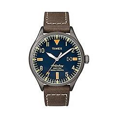 Timex - Men's blue 'Waterbury' brown leather strap watch tw2p83800