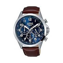 Lorus - Men's blue dial chronograph brown leather strap watch rt379fx9