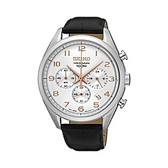Seiko - Gents Stainless Steel Chronograph Leather Strap Watch ssb227p1