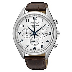 Seiko - Gents Stainless Steel Chronograph Leather Strap Watch ssb229p1