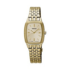 Seiko - Ladies Stainless Steel/Gold Plate 3-Hand Bracelet Watch srz474p1