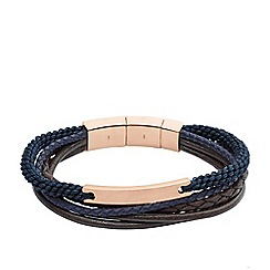 Fossil - Gents rose and navy layered bracelet