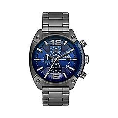 Diesel - Men's Overflow blue dial and gunmetal bracelet watch dz4412