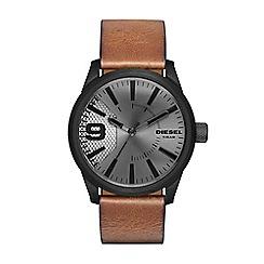 Diesel - Men's RASP brown leather strap watch dz1764
