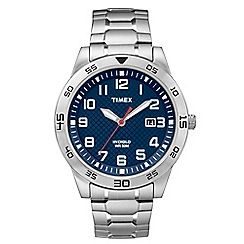 Timex - Men's Blue Dial with Stainless Steel Expansion Band Watch tw2p61500