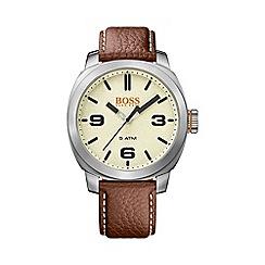 Boss Orange - Gents brown strap stainless steel watch 1513411