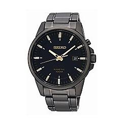 Seiko - Men's gunmetal round dial watch ska531p1