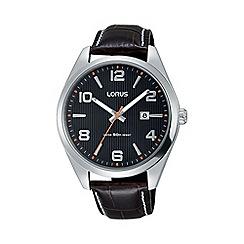 Lorus - Men's black dial sports brown leather strap watch rh957gx9