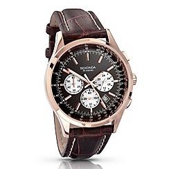Sekonda - Men's dark brown chronograph watch 3413.28