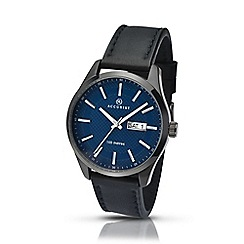 Accurist - Men's black leather strap blue dial watch 7136.01