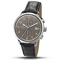 Accurist - Men's black leather strap black dial chronograph watch 7097.01