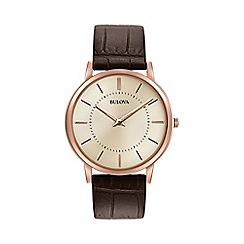 Bulova - Men's brown strap watch 97a126