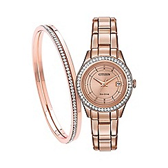 Citizen - Ladies rose gold bracelet watch and bangle FE1123-51Q SET