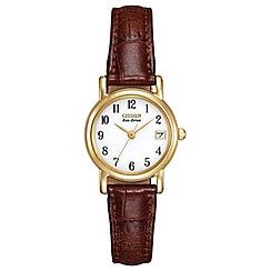 Citizen - Ladies gold tone brown strap watch ew1272-01a