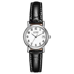 Citizen - Ladies Eco-Drive silver black strap watch EW1270-06A