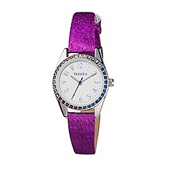 Tikkers - Stone set bezel purple glitter strap watch