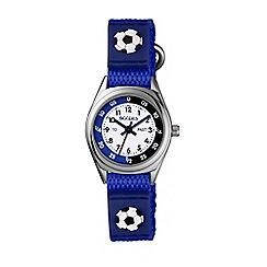 Tikkers - Blue football velcro strap time teacher watch