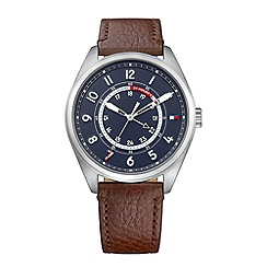 Tommy Hilfiger - Men's brown leather strap watch