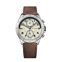 Tommy Hilfiger - Men's sub-dial brown leather strap watch