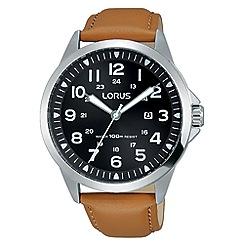 Lorus - Men's brown dial tan leather strap watch