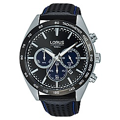 Lorus - Men's black dial chronograph brown leather strap watch