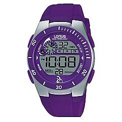 Lorus - Unisex purple silicone strap digital chronograph watch