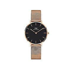 Daniel Wellington - Classic Petite Melrose with black face and rose gold mesh strap and case watch