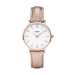 Cluse - Ladies' rose gold metallic  'Minuit' leather strap watch