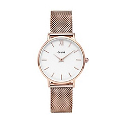 Cluse - Ladies rose gold 'Minuit' mesh strap watch