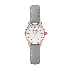 Cluse - Ladies' rose gold and grey 'la vedette' leather strap watch
