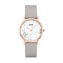 Cluse - Ladies rose gold and grey 'La Roche Petite' leather strap watch