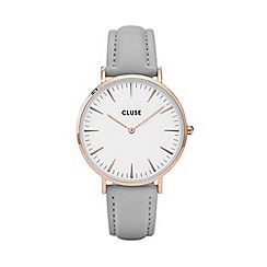 Cluse - Ladies' rose gold and grey 'la boheme' leather strap watch