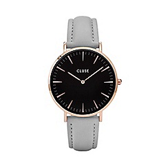 Cluse - Ladies' rose gold, black and grey 'la boheme' leather strap watch